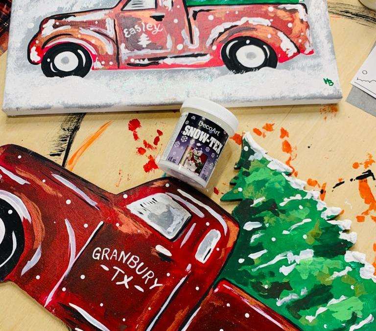red truck with Christmas tree painting