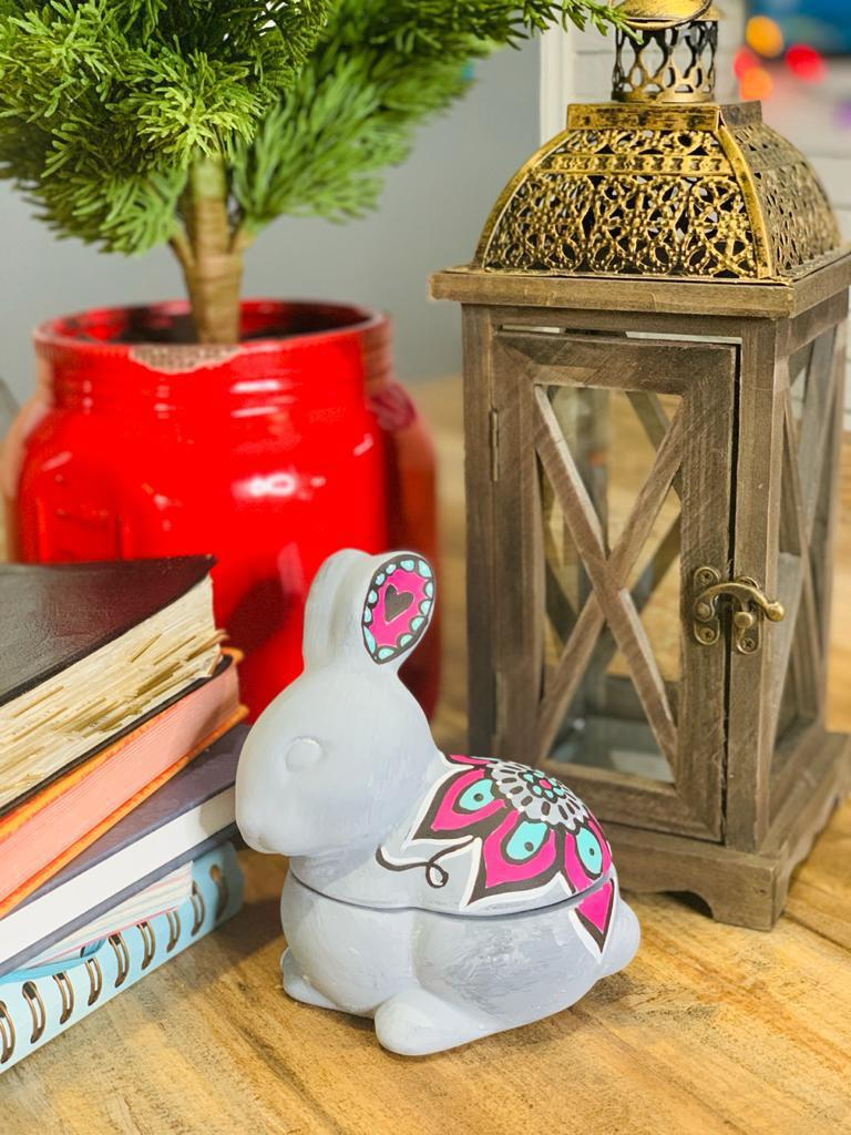 A painted ceramic rabbit will look great with your springtime decor!