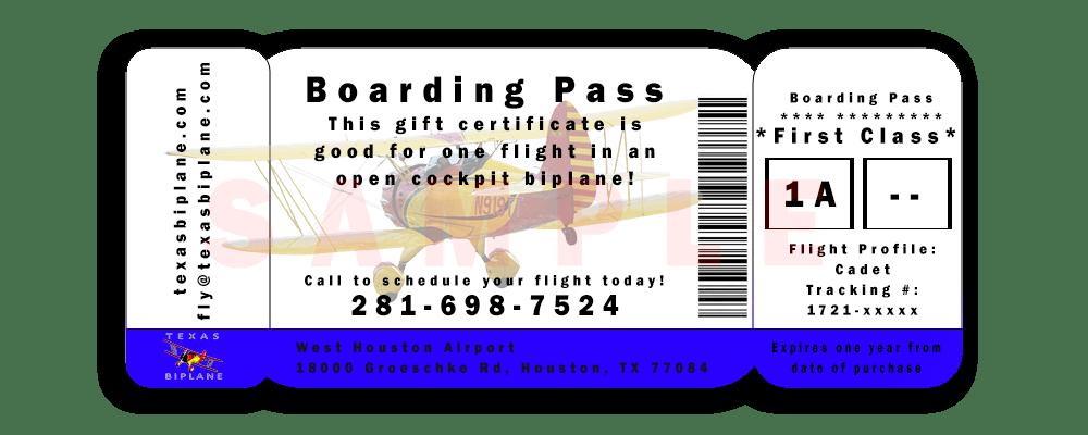 Houston flights Texas Biplane boarding pass