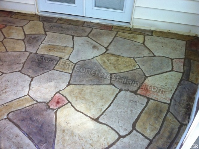 Concrete Patio With Stamped Overlay Modern