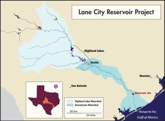 LCRA Lane City Reservoir Map