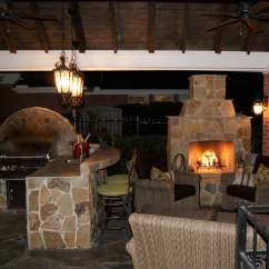 Outdoor Kitchen With Fireplace Childs Gable Roof Patio Cover And