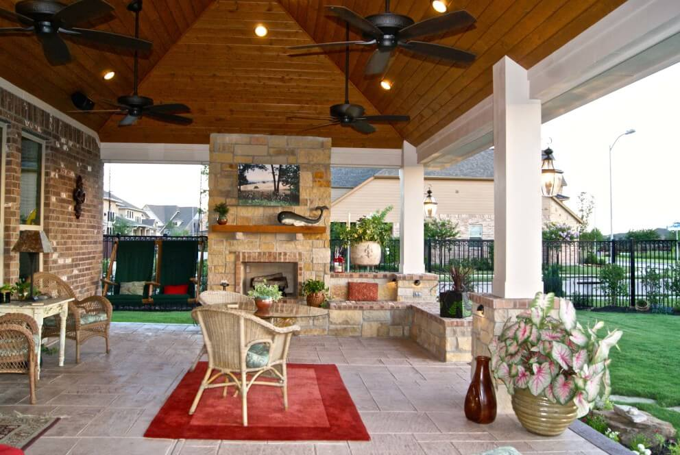 Patio Cover With Fireplace In Telfair  Texas Custom Patios