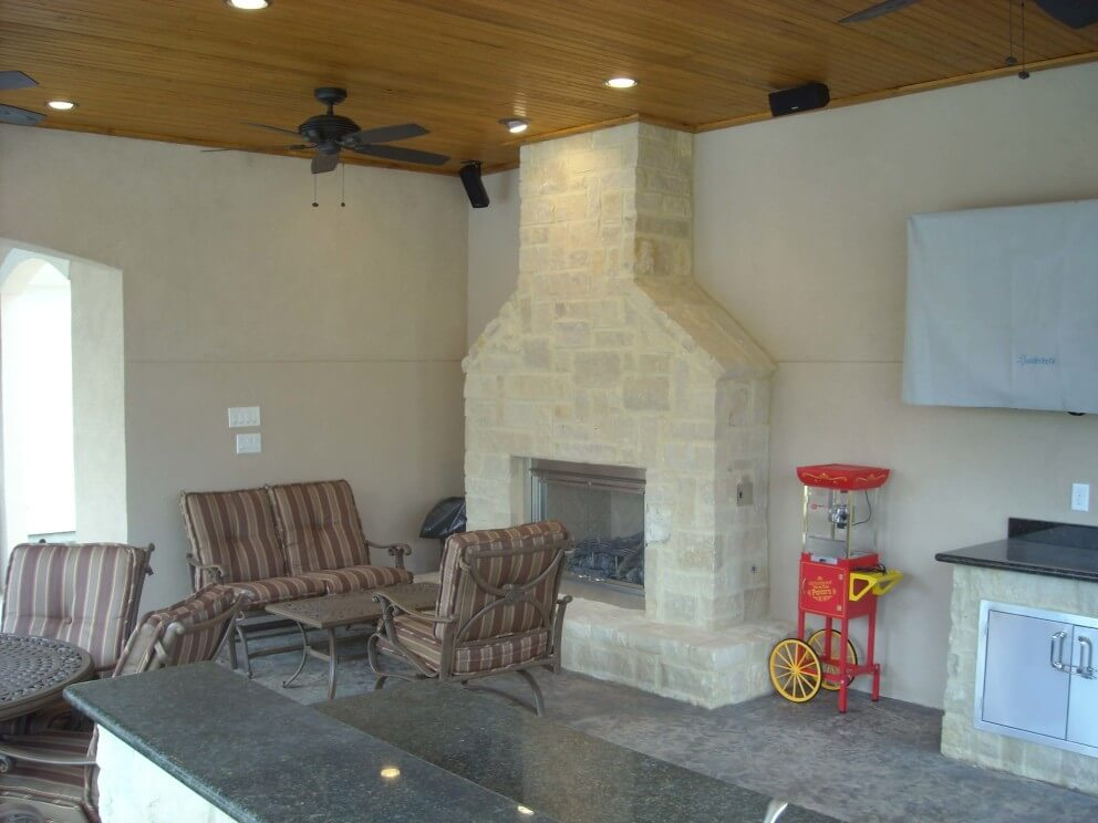 Fireplace Lighting A Gas Fireplace Pool House With Outdoor Kitchen & Fireplace In Cypress