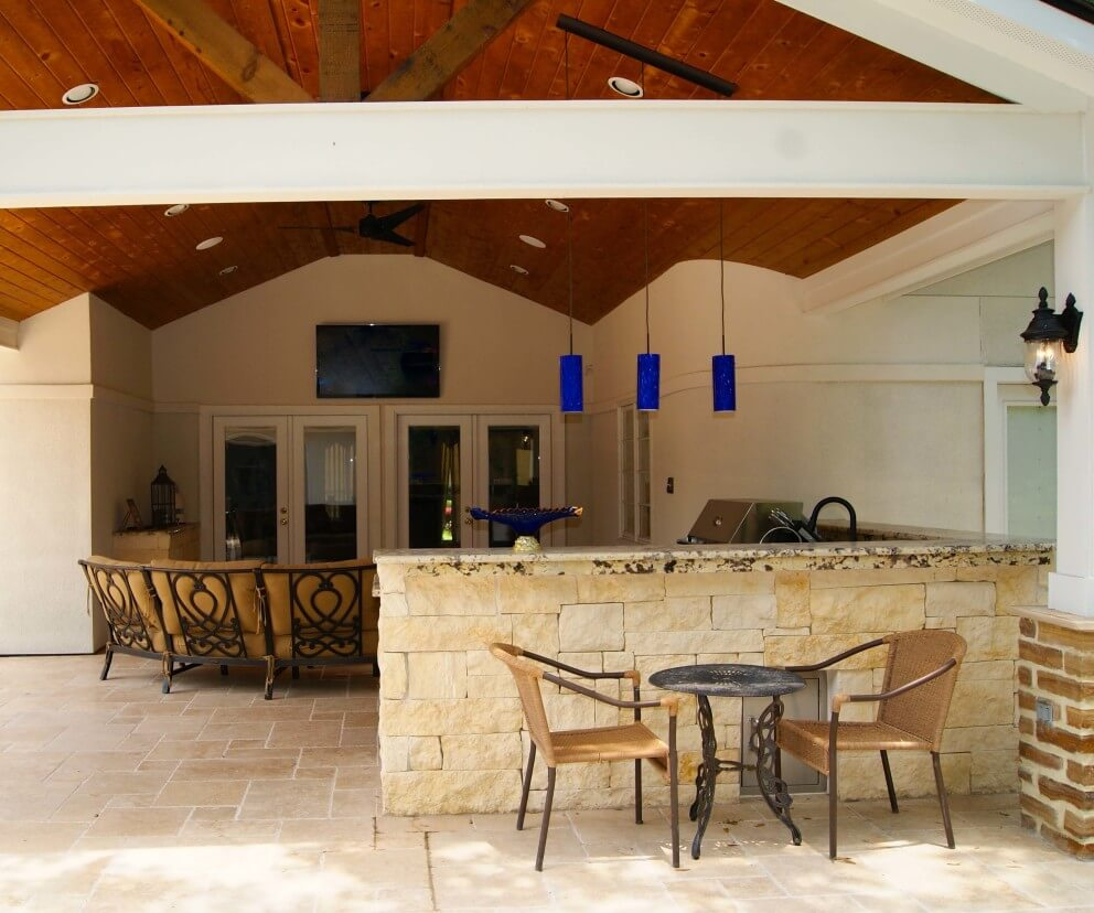 outdoor kitchen houston stonewall pancake mix contemporary patio cover, and firepit - texas ...