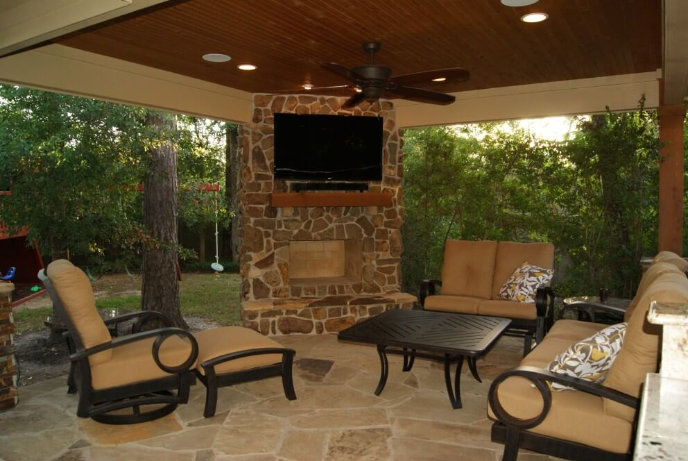 Freestanding Patio Cover With Kitchen  Fireplace In The Woodlands  Texas Custom Patios