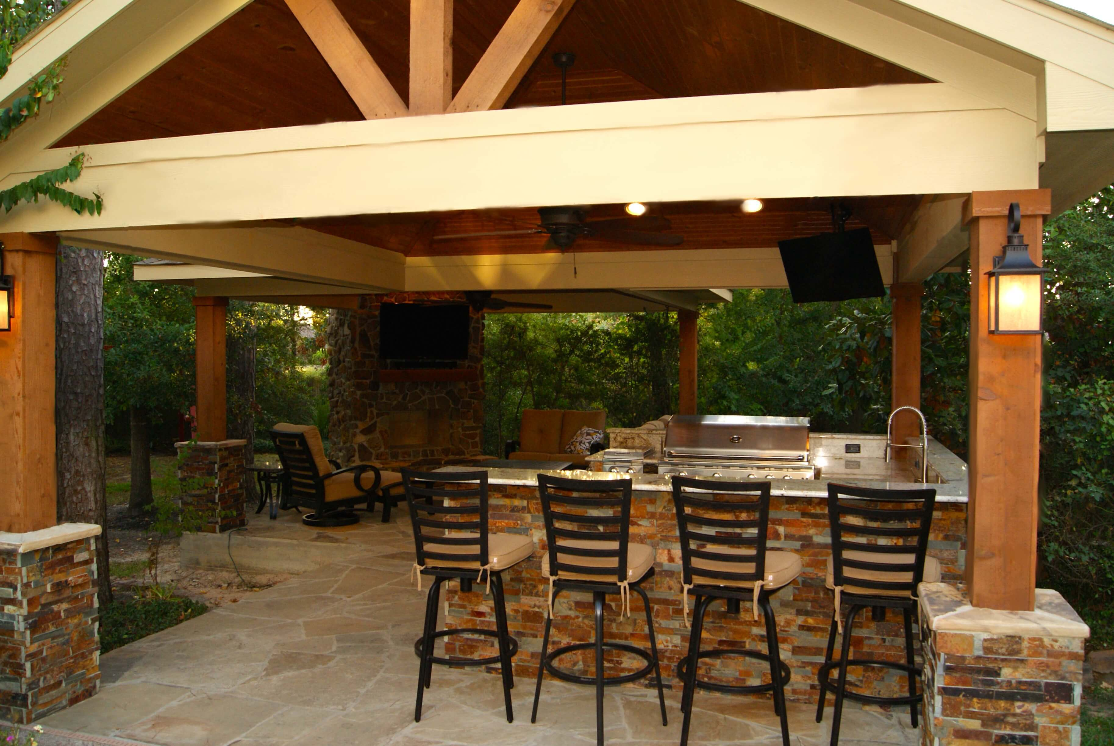 Freestanding Patio Cover With Kitchen Amp Fireplace In The