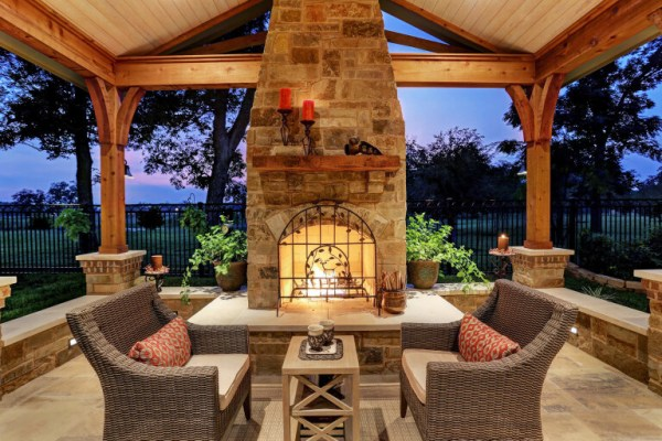 outdoor living space with fireplace Patio Covers Houston, Dallas, Pergolas, Patio Design, Katy