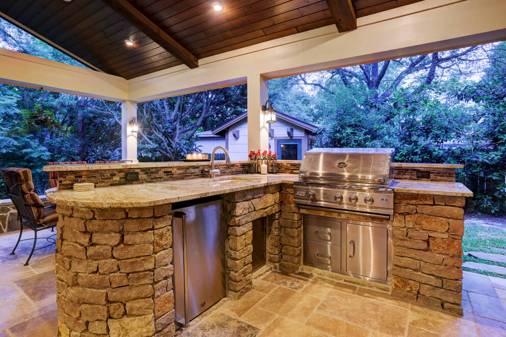 country style kitchen sink vulcan outdoor living in briar forest area - texas custom patios
