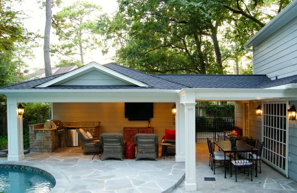 Patio Cover Built Off Garage  Outdoor Kitchen in Memorial