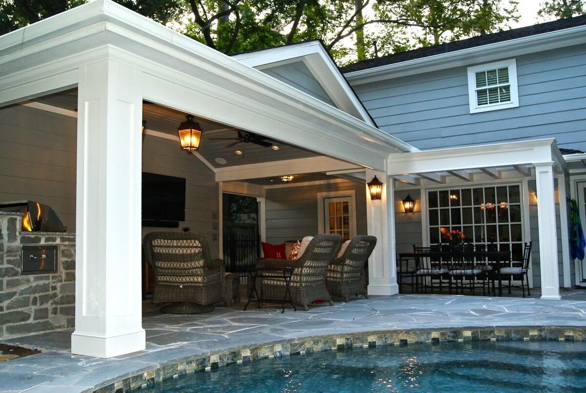 patio cover built off garage outdoor