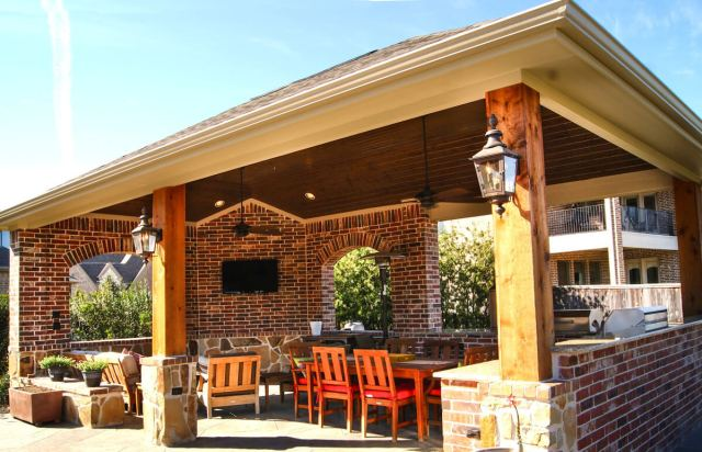 outdoor kitchen & freestanding patio cover in the woodlands - texas