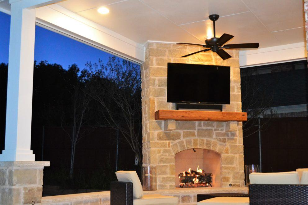 Outdoor Living Area with Corner Fireplace in Irving  Las Colinas  Texas Custom Patios
