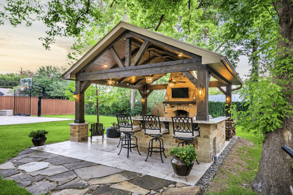 covered outdoor living space Project of the Month: September 2017 - Texas Custom Patios