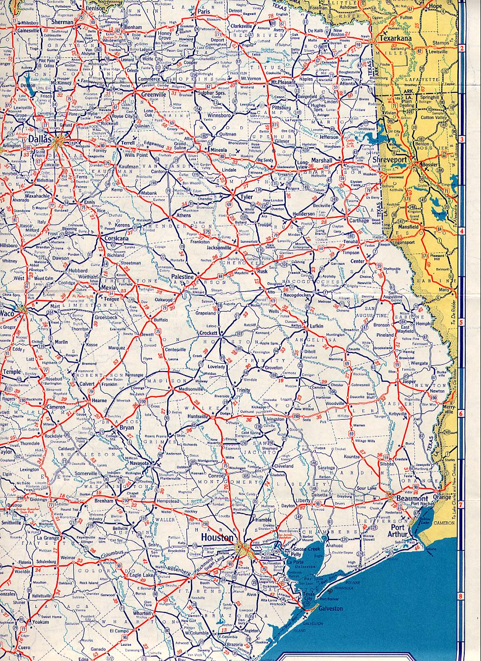 Road Map Of East Texas : texas, TexasFreeway, Statewide, Historic, Information
