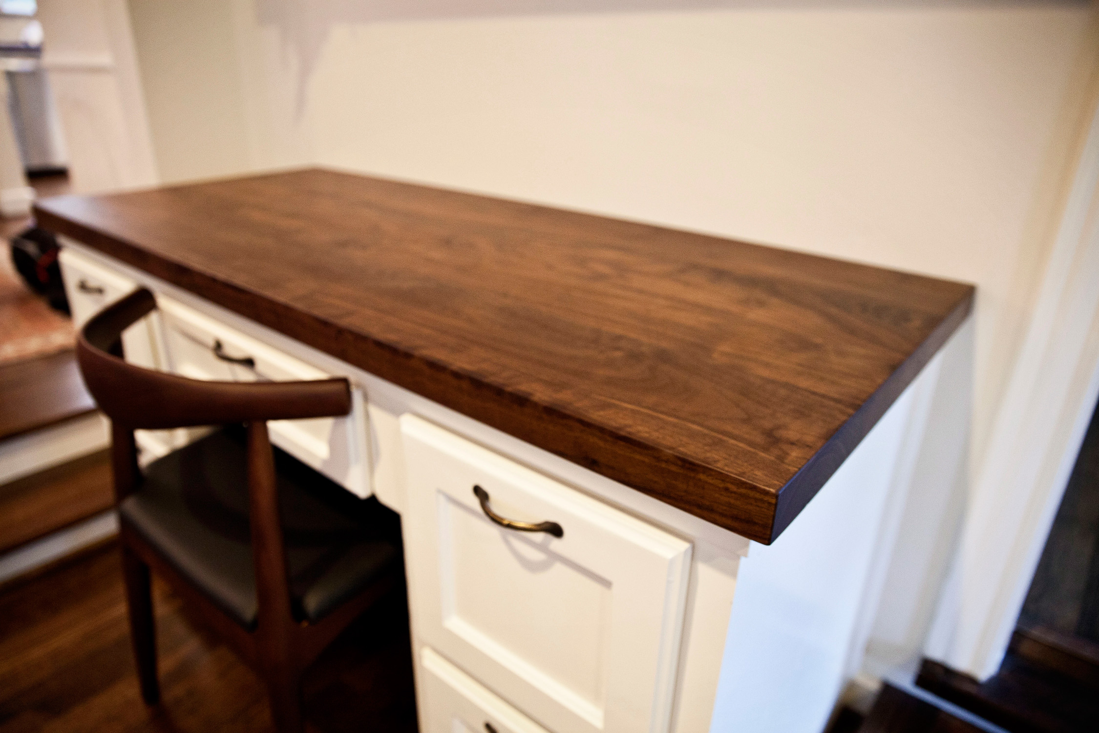 kitchen island with butcher block commercial style faucet walnut counters in west university   texas ...