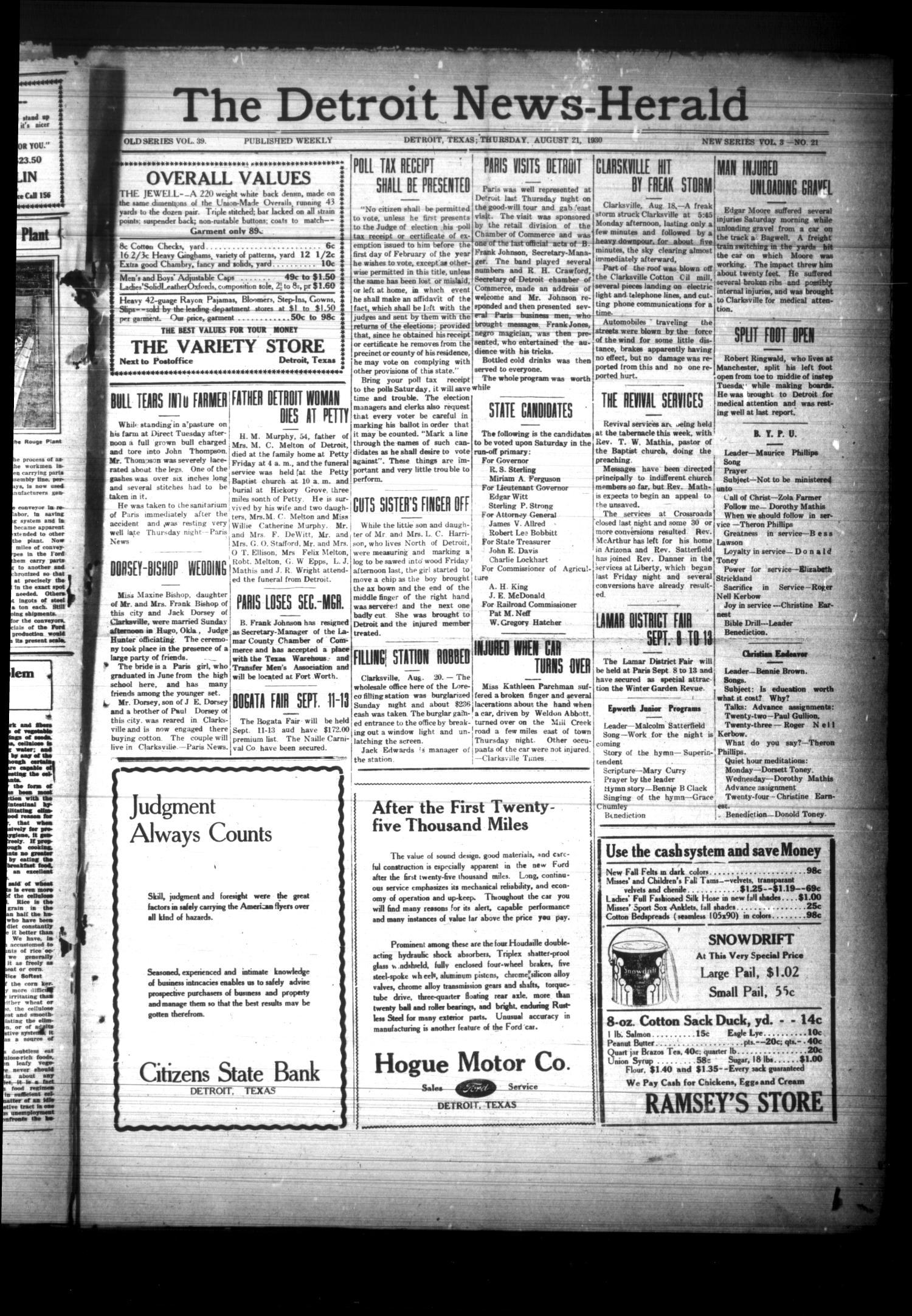 The Detroit News-Herald (Detroit. Tex.). Vol. 3. No. 21. Ed. 1 Thursday. August 21. 1930 - The Portal to Texas History