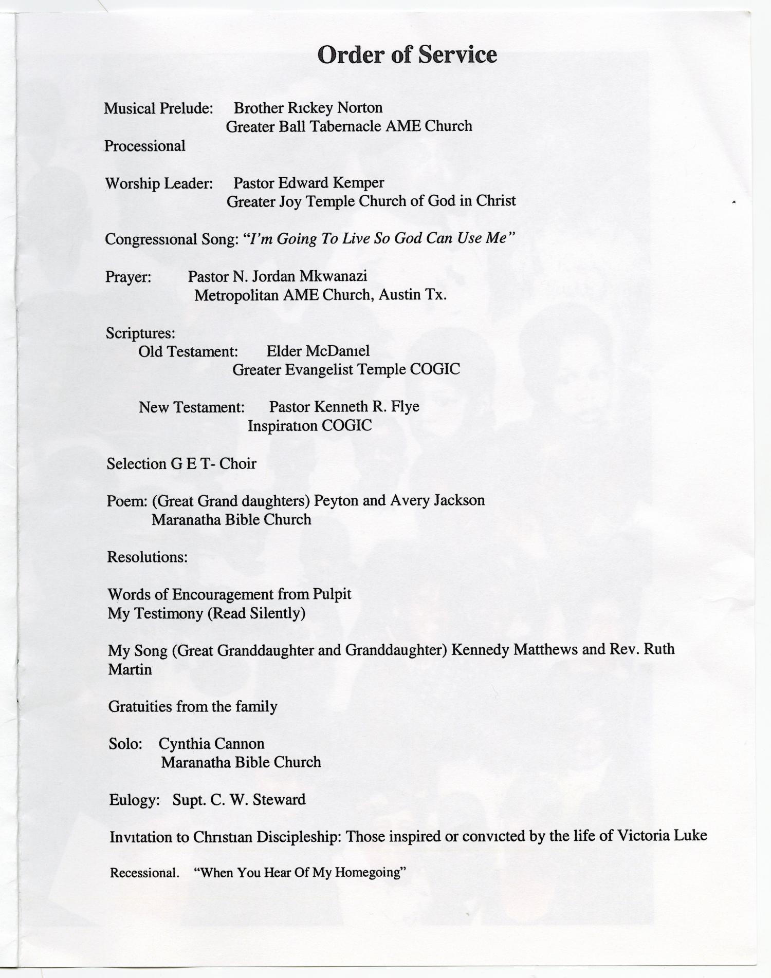 [Funeral Program for Victoria Luke,February 18, 2009