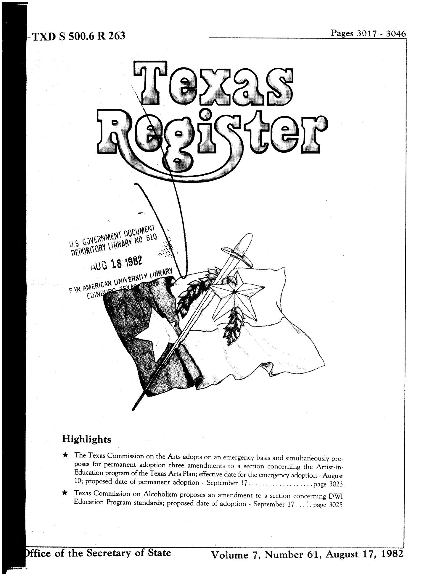 Texas Register, Volume 7, Number 61, Pages 3017-3046