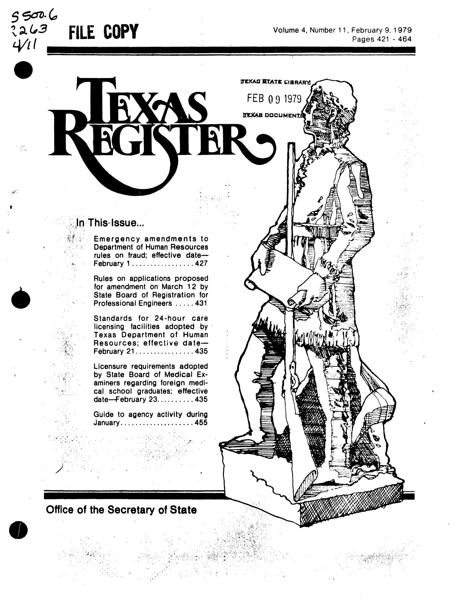 Texas Register, Volume 4, Number 11, Pages 421-164