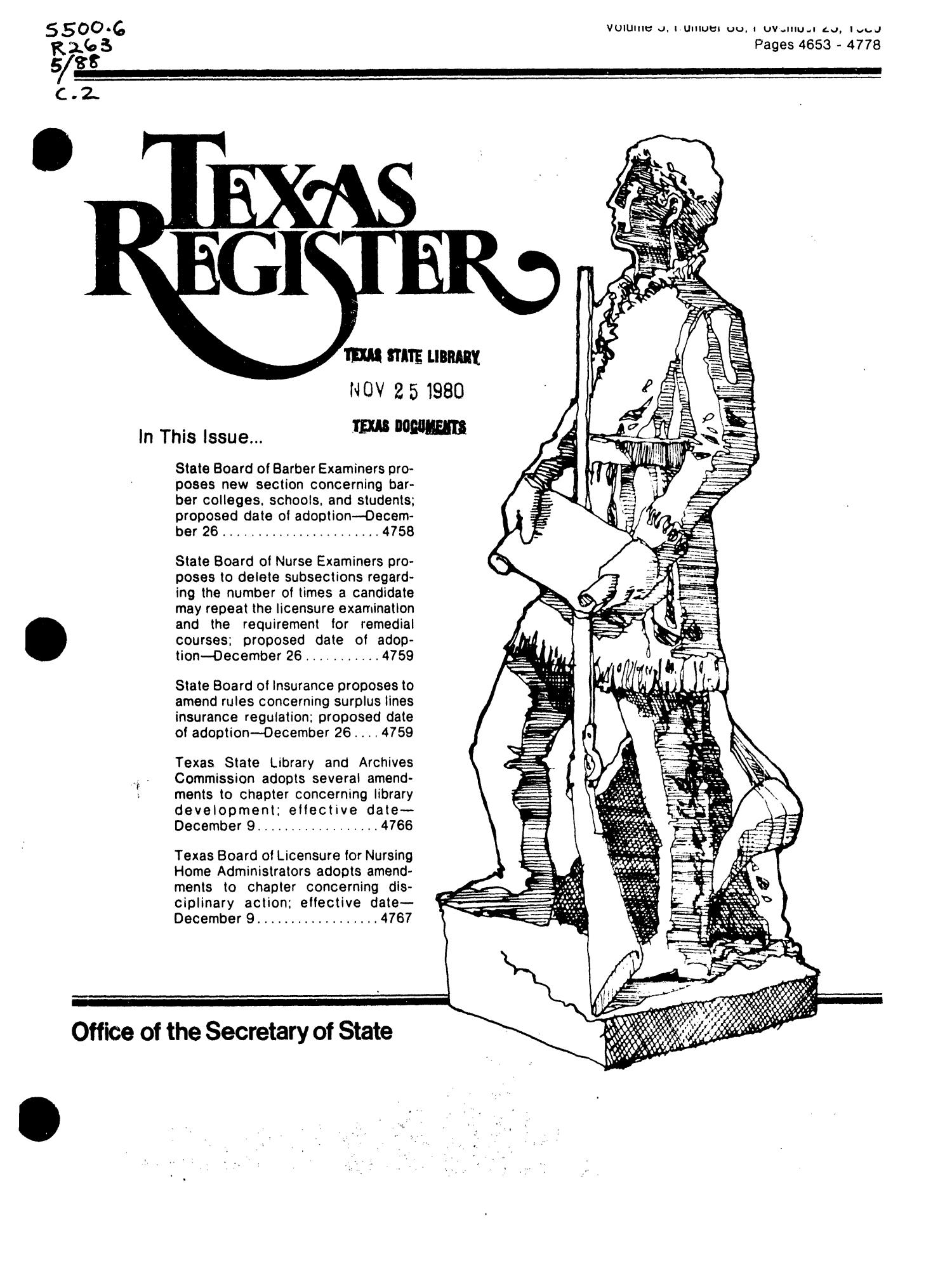 Texas Register, Volume 5, Number 88, Pages 4653-4778