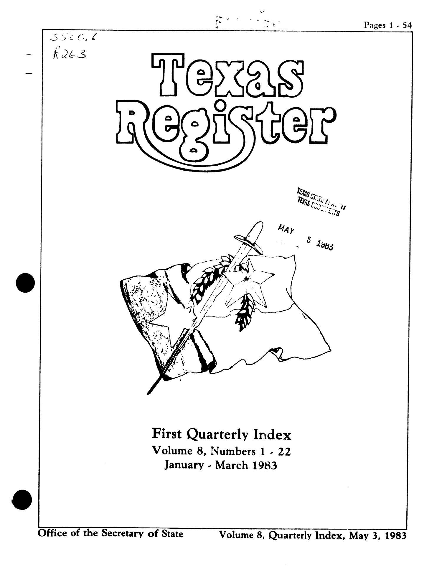 Texas Register, Volume 8, Quarterly Index I Numbers 1-22