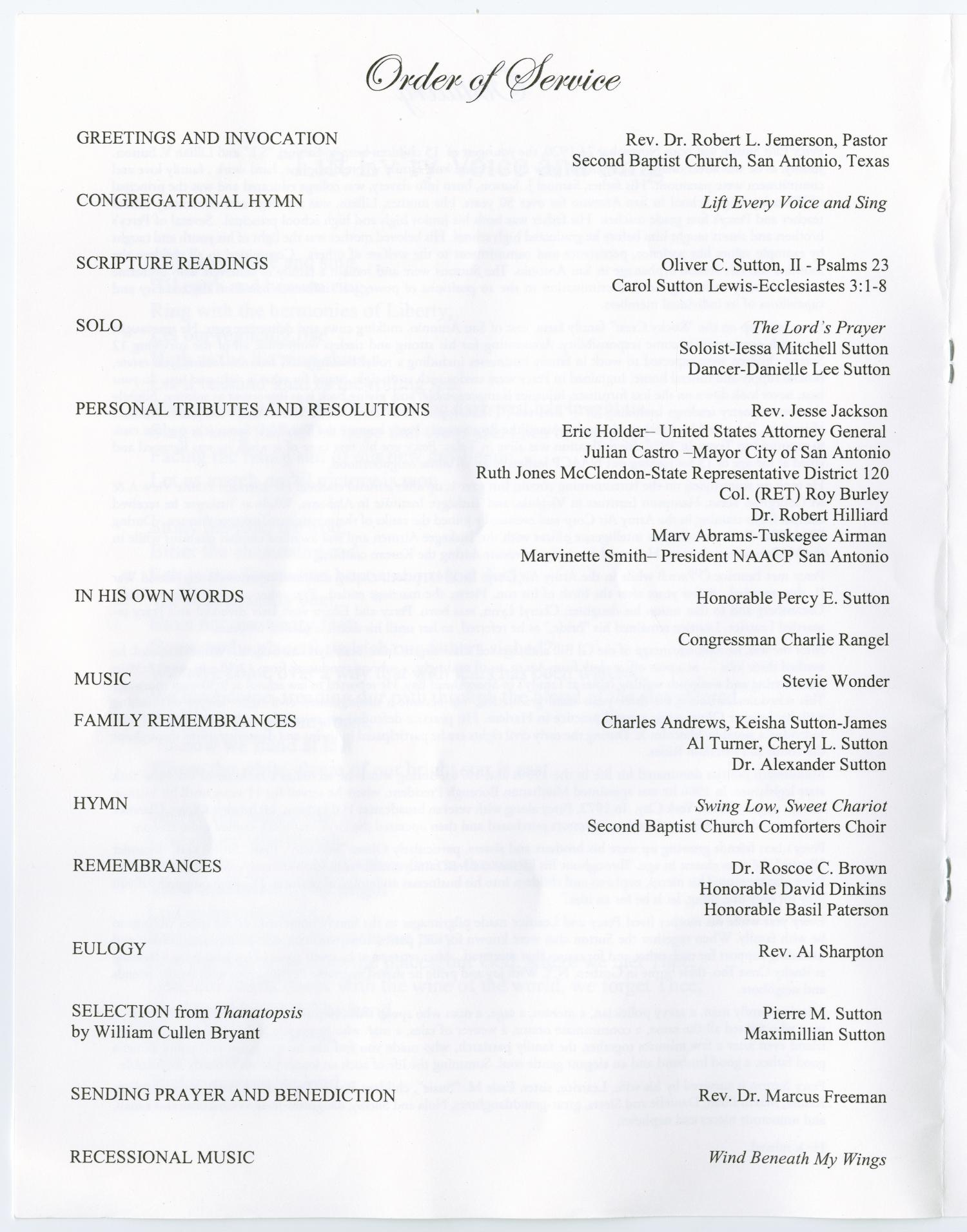 [Funeral Program for Percy Ellis Sutton, January 6, 2010