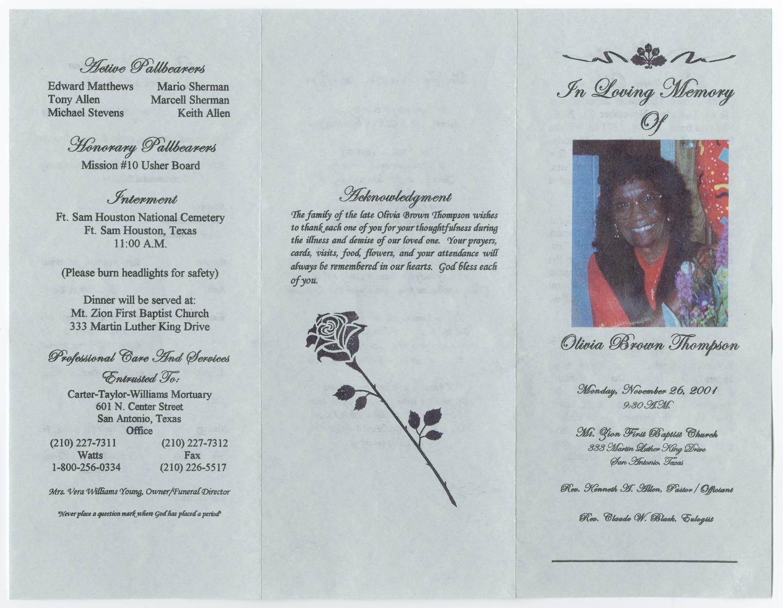 [Funeral Program for Olivia Brown Thompson, November 26