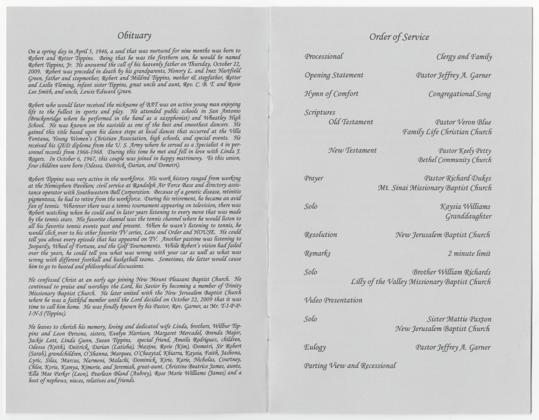 [Funeral Program for Robert Tippins, Jr., October 30, 2009