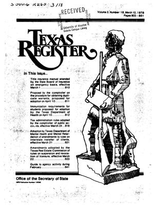 Texas Register, Volume 3, Number 18, Pages 803-851, March