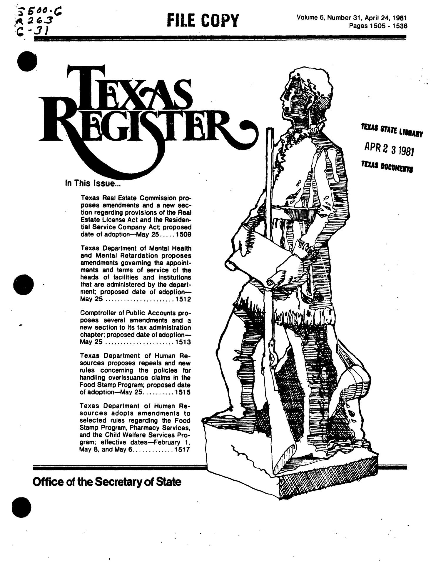 Texas Register, Volume 6, Number 31, Pages 1505-1536