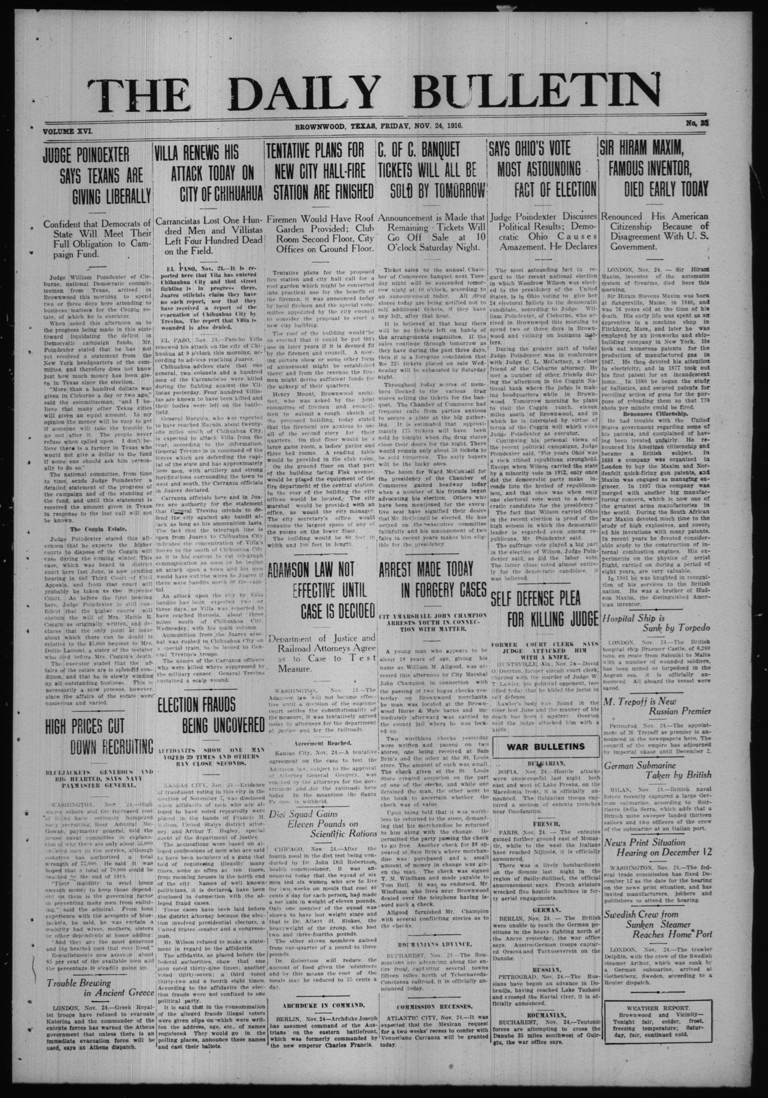 The Daily Bulletin (Brownwood, Tex.), Vol. 16, No. 35, Ed