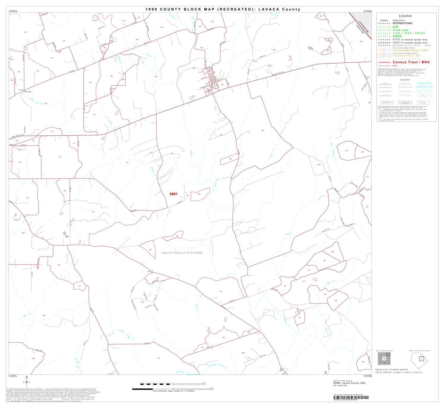 1990 Census County Block Map (Recreated): Lavaca County