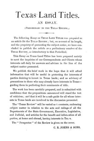 Texas Land Titles An Essay Preliminary To The Texas