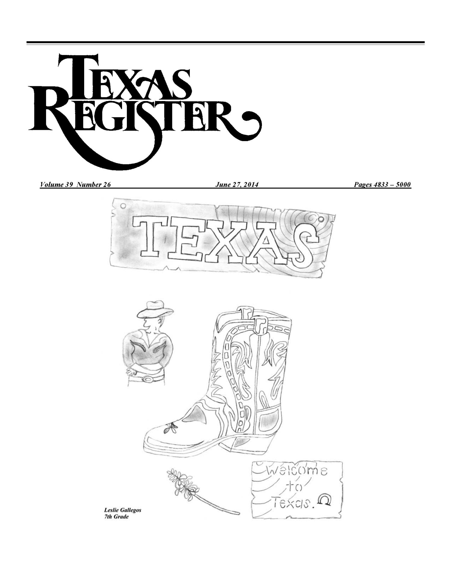 Texas Register, Volume 39, Number 26, Pages 4833-5000