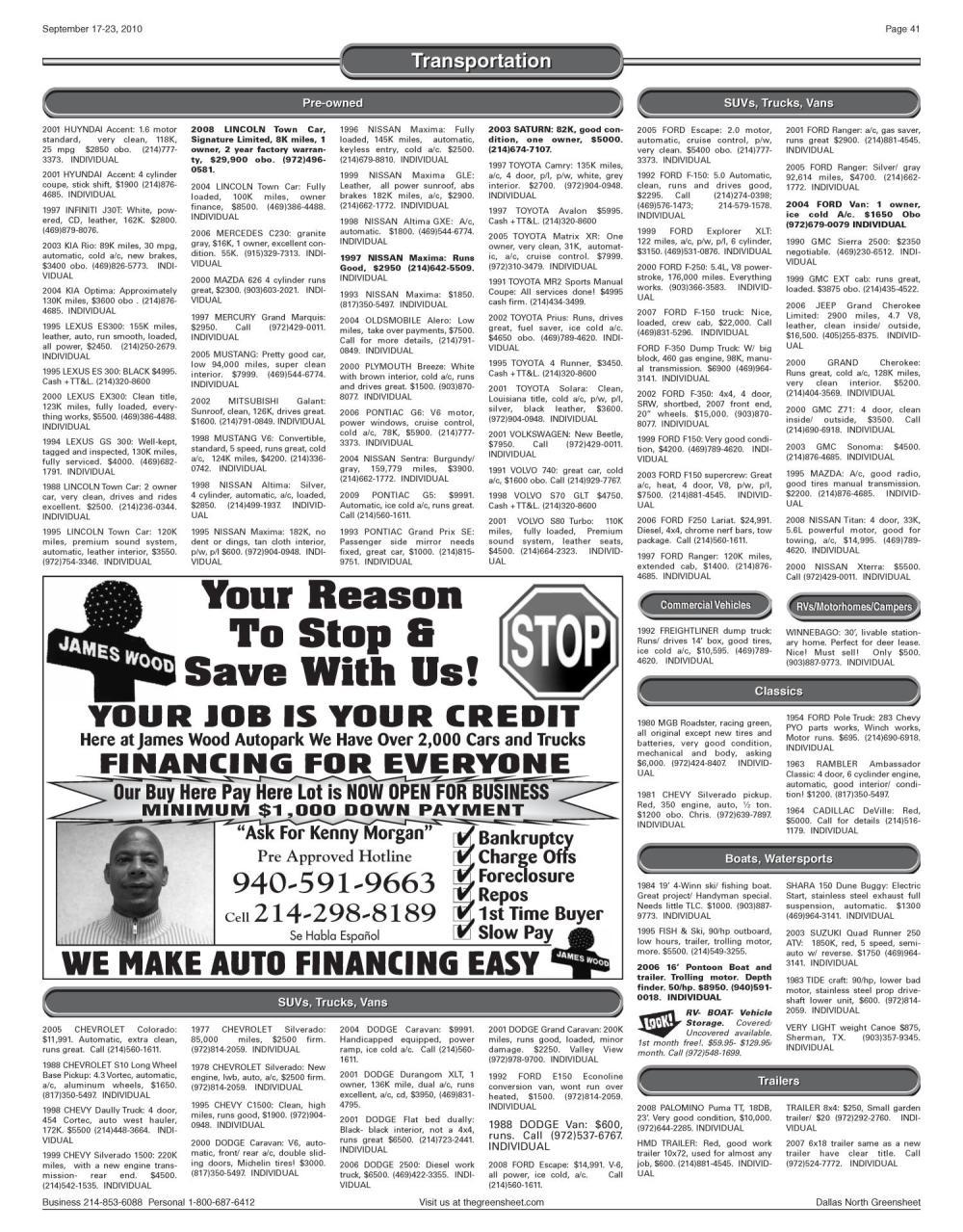 medium resolution of the greensheet dallas tex vol 34 no 168 ed 1 friday september 17 2010 page 41 of 44 the portal to texas history