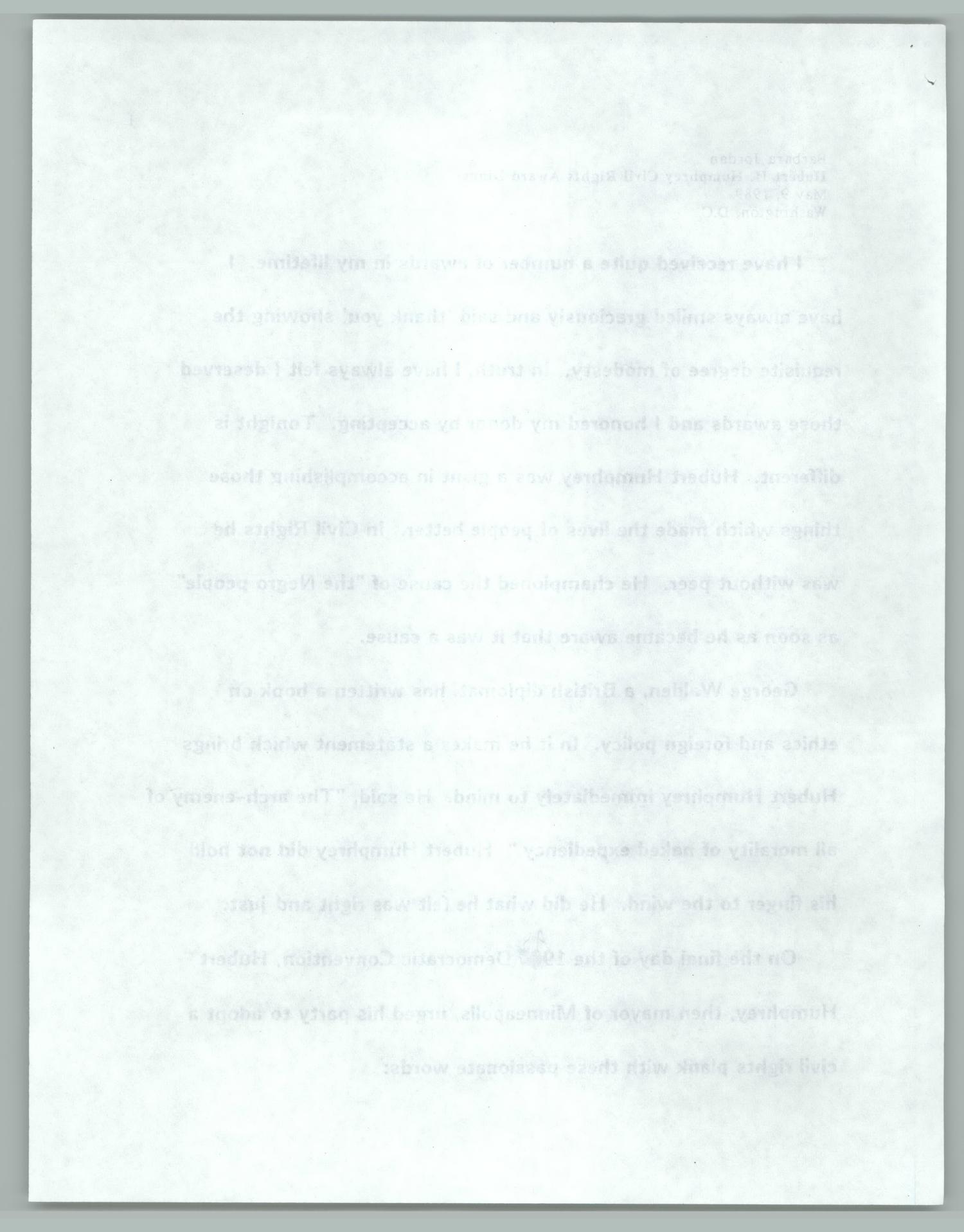 [Barbara Jordan Acceptance Speech at Hubert H. Humphrey