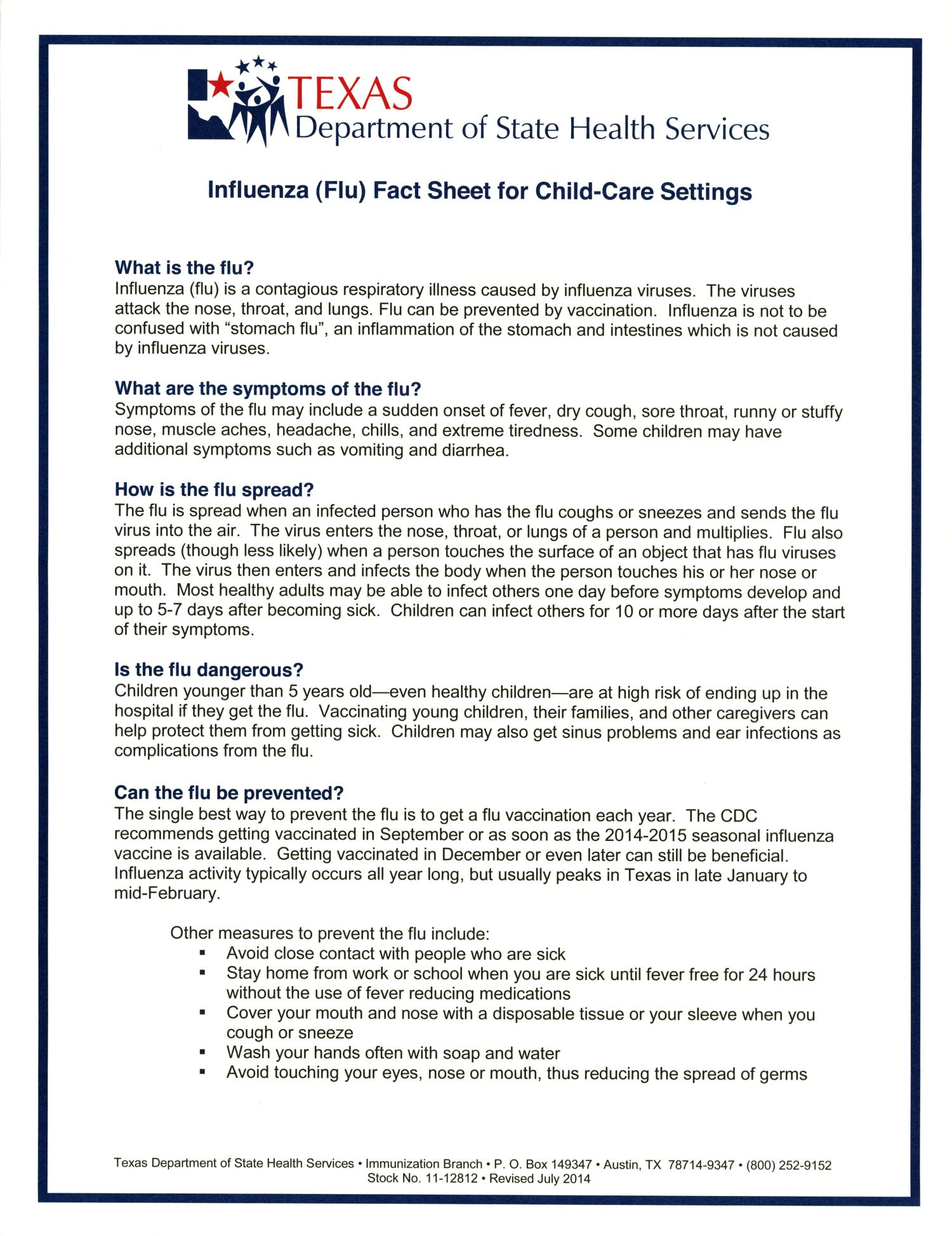 Influenza (Flu) Fact Sheet For Child-Care Settings - The Portal to ...