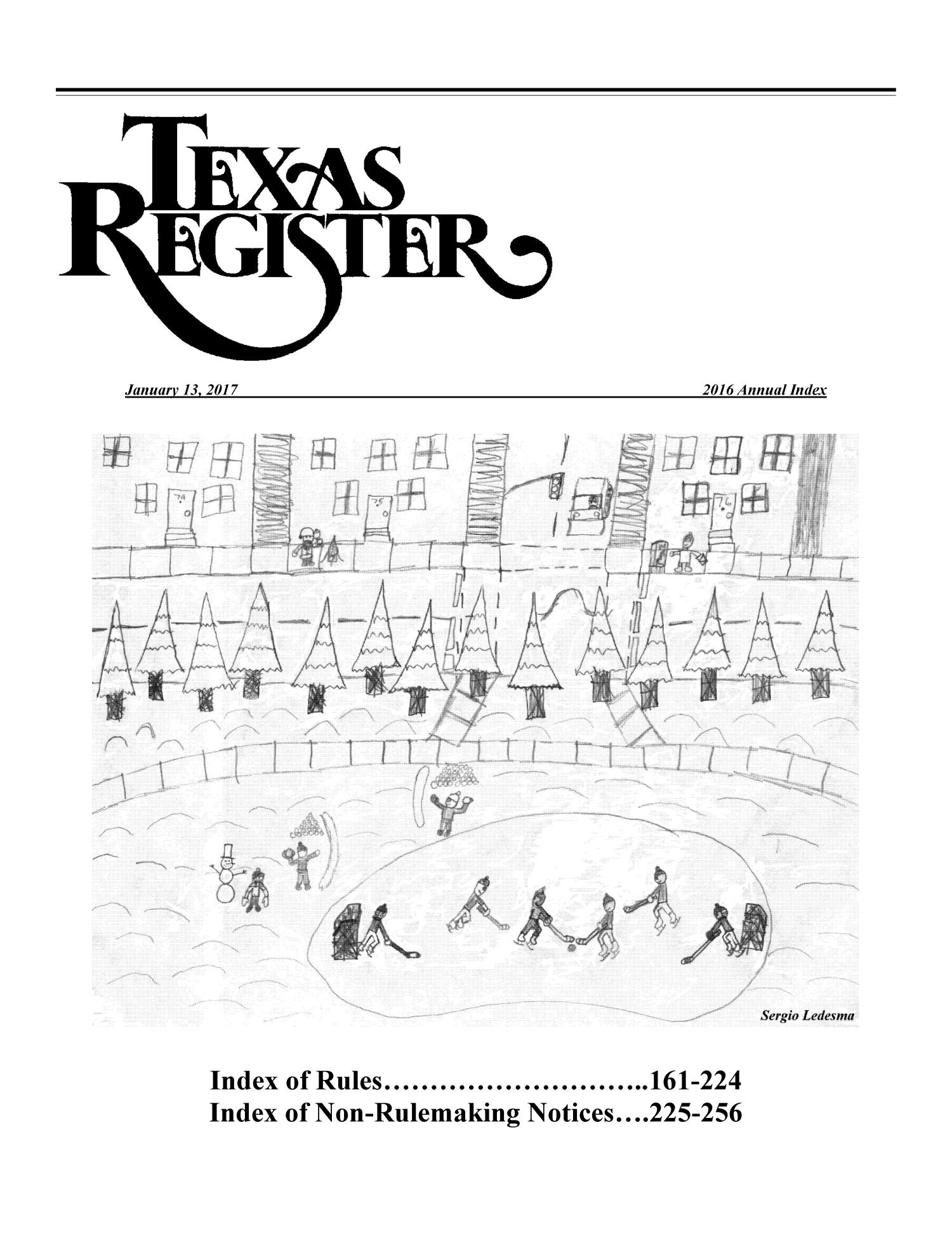 Texas Register: 2016 Annual Index, Index of Rules, Pages