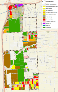 Proposed Sunnyside TIRZ boundaries and existing land use.