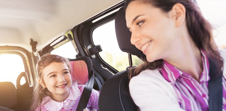 seat belt with girl in child seat