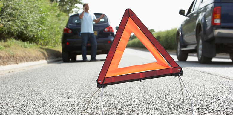 car hazard sign after accident