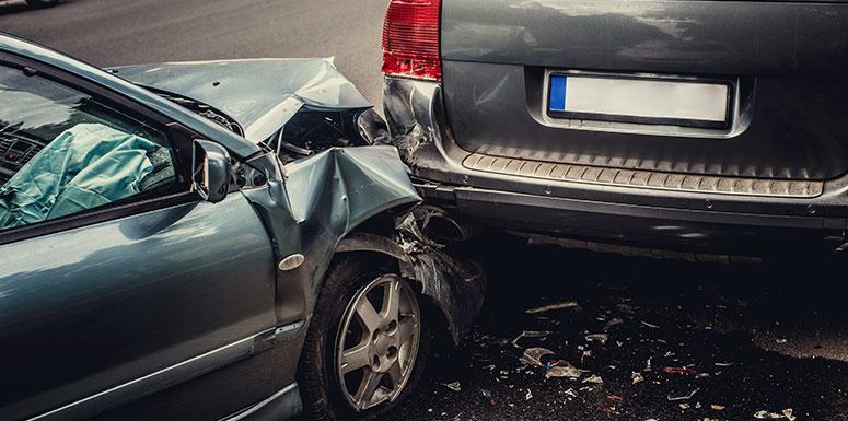 car crash into van
