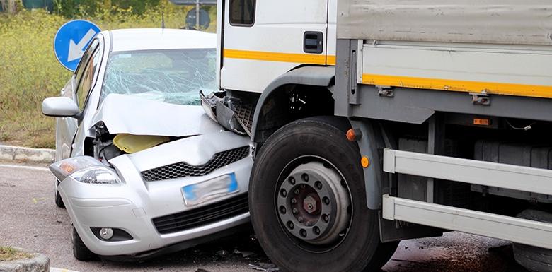 car truck crash into car