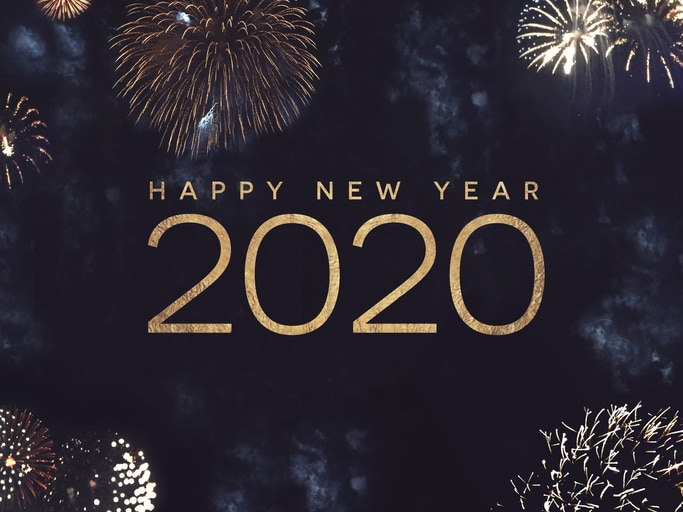 New Year's 2020 with fireworks
