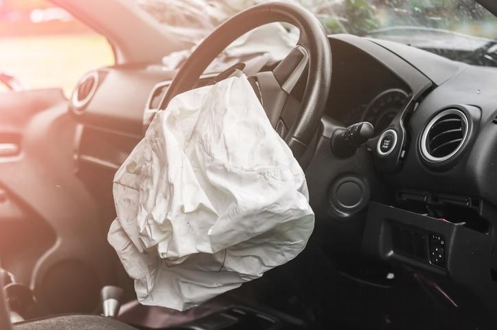 car crash with airbag