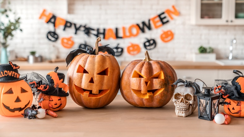 card pumpkins and halloween decorations