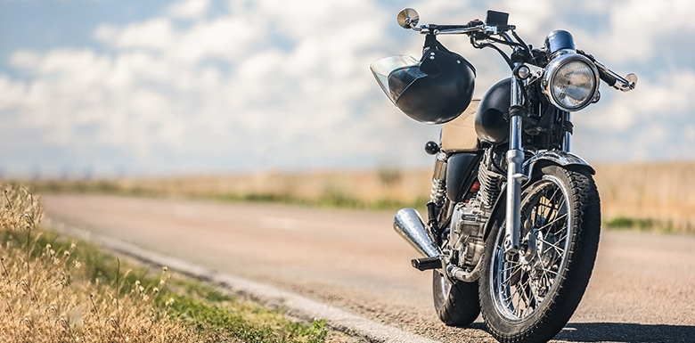 Motorcycle parked on side of road