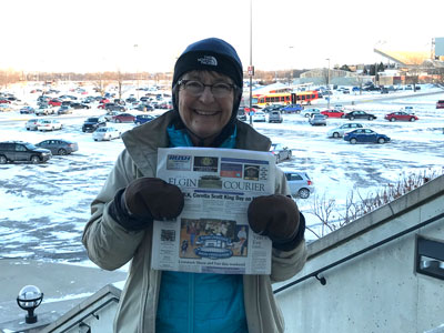 Sue Beckwith in Iowa snow January 2018