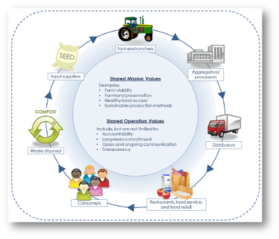 Supply chain from production, through processing, distribution, selling, consuming and dealing with waste. Value chain includes equity and shared social values.